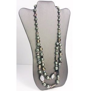 Erica Lyons Heavy Glass and shell beaded necklace